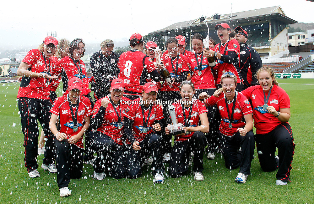 Canterbury's Magicians celebrate their win, Action Cricket Twenty20 Final, Blaze v Magicians. Basin Reserve, Wellington. Saturday 5 February 2011. Photo: Anthony Phelps/PHOTOSPORT
