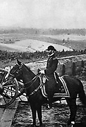William Tecumseh Sherman (1820-1891) American soldier. In American Civil War 1861-1865 one of the Unionist (northern) generals. Sherman, mounted, behind Unionist lines before Atlanta. After photograph by Brady taken in 1864.