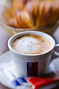 Cup of cafe au lait and croisants, Paris, France