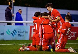 BANGOR, WALES - Monday, October 15, 2018: Wales players celebrate the second goal, scored by Brennan Johnson, during the UEFA Under-19 International Friendly match between Wales and Poland at the VSM Bangor Stadium. (Pic by Paul Greenwood/Propaganda)