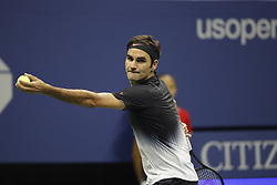 September 6, 2017 - New York City, New York, United States - Roger Federer of Switzerland returns a shot against Juan Martin del Potro of Argentina during their Men's Singles Quarterfinal match on Day Ten of the 2017 US Open at the USTA Billie Jean King National Tennis Center on September 6, 2017 in the Flushing neighborhood of the Queens borough of New York City. (Credit Image: © Foto Olimpik/NurPhoto via ZUMA Press)