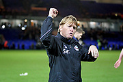 Scunthorpe Utd  manager Stuart McCall punches the air towards the fans after the EFL Sky Bet League 1 match between Peterborough United and Scunthorpe United at London Road, Peterborough, England on 1 January 2019.