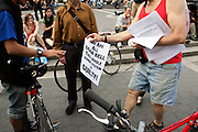Atmosphere at the Critical Mass and The National Action Network(NAN) join forces for The Critical Mass monthly civil disobedience ride to protest the Not Gulity verdict of NYPD shooting death of Sean Bell, and critically injuring Joseph Guzman and Trent Benefield at 14th Streeet Union Square on May 30, 2008 ..Critical Mass is an event typically held on the last Friday of every month in cities around the world where bicyclists and other self-propelled commuters take to the streets en masse. While the ride was originally founded with the idea of drawing attention to how unfriendly the city was to bicyclists,[1] the leaderless structure of Critical Mass makes it impossible to assign it any one specific goal. In fact, the purpose of Critical Mass is not formalized beyond the direct action of meeting at a set location and time and traveling as a group through city or town streets.
