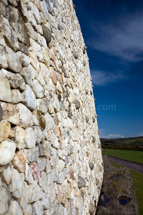 The reconstructed quartzite outer wall at Newgrange, County Meath, Ireland