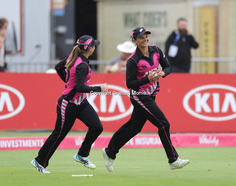 Suzie Bates (right) celebrates catching Laura Wolvaardt during her century in the T20I between the White Ferns and South Africa Women at the County Ground, Taunton. Photo: Graham Morris/www.photosport.nz 20/06/18