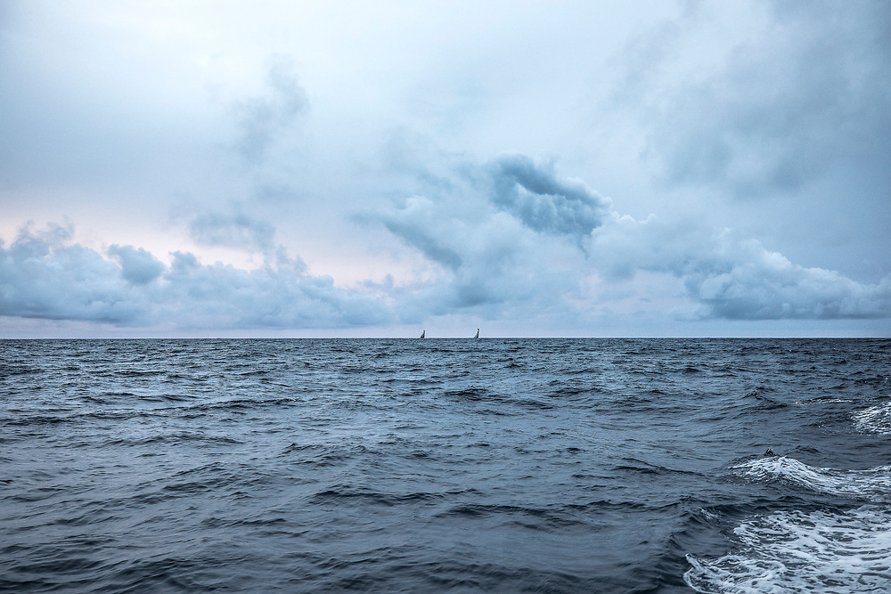 Leg 6 to Auckland, day 04 on board MAPFRE, Grey sunset, Dongfeng and Brunel at the horizon. 10 February, 2018.