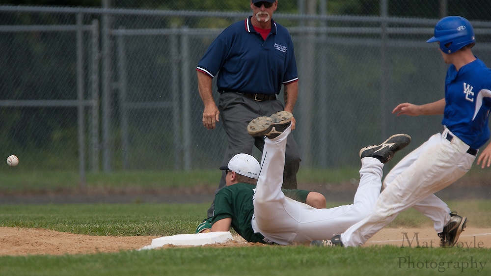 West Deptford's Ed Essig dives and misses catching the throw from catcher Tyler Stranoduring as Waldo County Maine's Nick Rodgerson steals third and advances to home on the wild throw during a elimination bracket game of the Eastern Regional Senior League tournament held in West Deptford on Sunday, August 7.