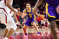 FAYETTEVILLE, AR - JANUARY 12:  Tremont Waters #3 of the LSU Tigers looks to drive during a game against the Arkansas Razorbacks at Bud Walton Arena on January 12, 2019 in Fayetteville, Arkansas.  The Tigers defeated the Razorbacks 94-88.  (Photo by Wesley Hitt/Getty Images) *** Local Caption *** Tremont Waters