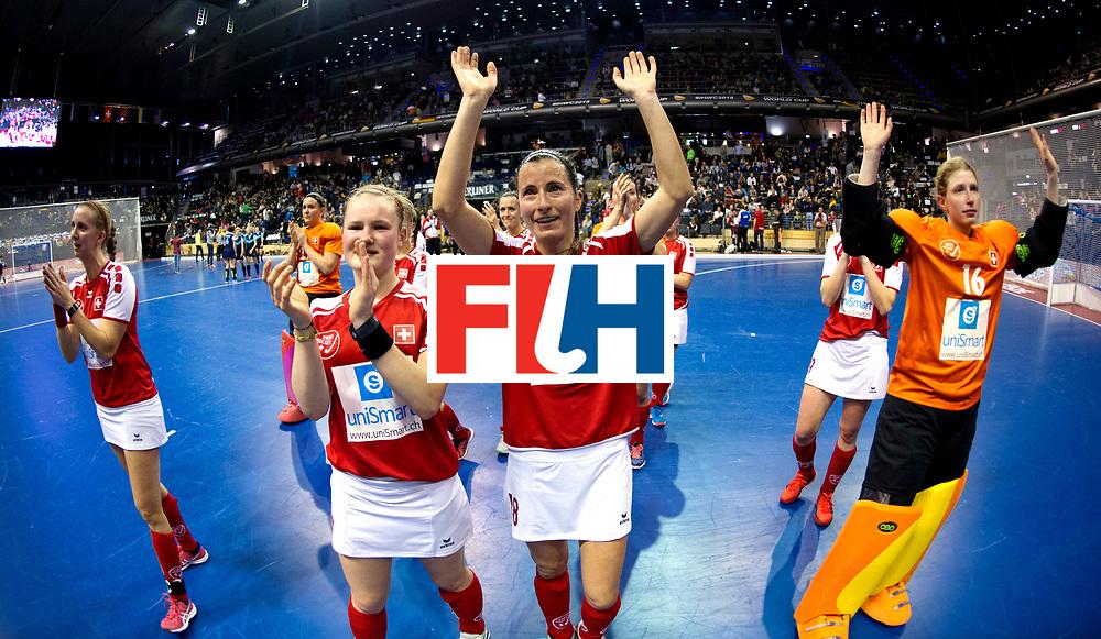 BERLIN - Indoor Hockey World Cup<br /> Quarterfinal 2: Ukraine - Switzerland<br /> foto: Switzerland thank the crowd. HAUSSENER Linda.<br /> WORLDSPORTPICS COPYRIGHT FRANK UIJLENBROEK