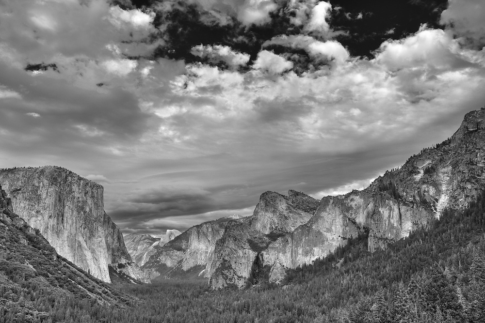 Yosemite Valley Overlook - Big Sky Clouds - HDR - Infrared Black & White