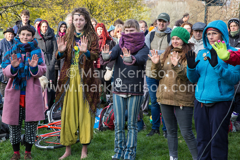 London, UK. 14th April 2019. Climate campaigners from Extinction Rebellion learn deescalation techniques in Hyde Park in preparation for 'International Rebellion UK - Shut Down London!' events next week to call on the Government to take urgent action to address climate change.