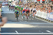 Caleb Ewan (AUS) of Orica BikeExchange (left) sprints to the line during the Tour of Britain 2016 stage 8 , London, United Kingdom on 11 September 2016. Photo by Mark Davies.