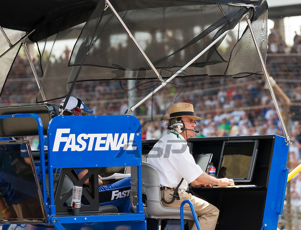 INDIANPOLIS, IN - JUL 29, 2012:  Jack Roush sits on the pit box as he watches the  Curtiss Shaver 400 presented by Crown Royal Sprint Cup Series race at the Indianapolis Motor Speedway in Indianapolis, IN.