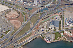 "Pearl Harbor Memorial ""Q"" Bridge, East Bound Approaches just west of Bridge. I95 I91 Route 34 Interchange Aerial Photograph. Showing Water Street left-right top, Long Wharf Drive bottom, and Brewery Street left."