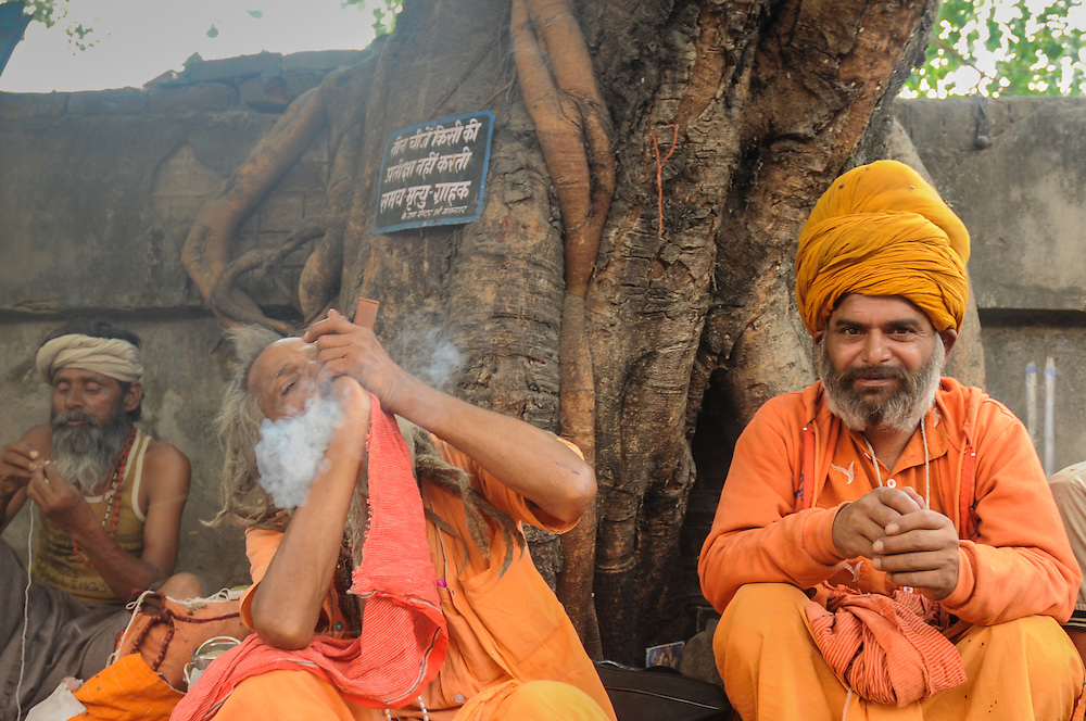 Two Sadhu's, or holy men, smoking weed on the street and in front of a tree, Haridwar, India.