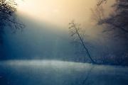 Calm river scene on a spring morning near Solingen, Germany.