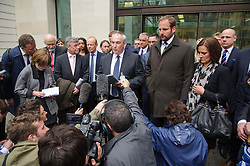 © Licensed to London News Pictures. 08/05/2013 London, UK. Sun chief Royal correspondent Duncan Larcombe and solicitor James MacWhirter  outside Westminster Magistrates Court. Larcombe, 37, is alleged to have paid more than £23,000 to John Hardy, 43, who served as a Colour Sergeant at the Royal Military Training Academy at Sandhurst, and his 39-year-old wife Claire Hardy for stories relating to the Royal Family or matters at Sandhurst..Photo credit : Simon Jacobs/LNP