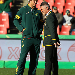 JOHANNESBURG, SOUTH AFRICA - JULY 25: Eben Etzebeth of of South Africa with Heyneke Meyer (Head Coach) of South Africa during The Castle Lager Rugby Championship 2015 match between South Africa and New Zealand at Emirates Airline Park on July 25, 2015 in Johannesburg, South Africa. (Photo by Steve Haag/Gallo Images)