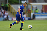 AFC Wimbledon midfielder Dean Parrett (18) during the Pre-Season Friendly match between AFC Wimbledon and Crystal Palace at the Cherry Red Records Stadium, Kingston, England on 27 July 2016. Photo by Stuart Butcher.