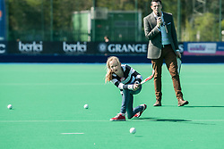 Half time fun at the Investec Women's Hockey League Finals Weekend, Sonning Lane, Reading, UK on 13 April 2014. Photo: Simon Parker