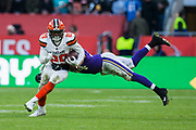Cleveland Browns Runningback Duke Johnson (29) is tackled by Minnesota Vikings Middle Linebacker Eric Kendricks (54) during the International Series match between Cleveland Browns and Minnesota Vikings at Twickenham, Richmond, United Kingdom on 29 October 2017. Photo by Jason Brown.