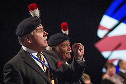 © Licensed to London News Pictures . 29/09/2013 . Manchester , UK . Colonel Ian Brazier , Chairman of the Fusiliers ' Association chairman , heckles Philip Hammond from the audience . Day 1 of the Conservative Party Conference at Manchester Central . Photo credit : Joel Goodman/LNP