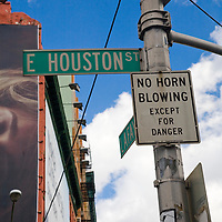 Traffic sign on Lafayette at Houston street, NYC, USA. Warning of no horn blowing.