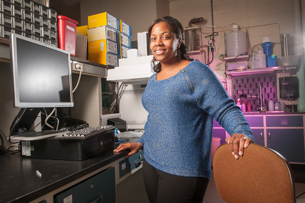 Portrait of African American woman in a lab in College Park, Maryland