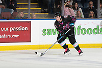 KELOWNA, BC - SEPTEMBER 21:  Sean Comrie #3 of the Kelowna Rockets skates with the puck against the Spokane Chiefs  at Prospera Place on September 21, 2019 in Kelowna, Canada. (Photo by Marissa Baecker/Shoot the Breeze)