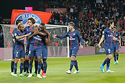 Blaise Mathuidi (psg) scored a goal and celebrated it with Javier Matias Pastore (psg), Adrien Rabiot (psg), Lucas Rodrigues Moura da Silva (psg), Maxwell Scherrer Cabelino Andrade (psg), Edinson Roberto Paulo Cavani Gomez (psg) (El Matador) (El Botija) (Florestan), Serge Aurier (psg) during the French Championship Ligue 1 football match between Paris Saint-Germain and EA Guingamp on April 9, 2017 at Parc des Princes stadium in Paris, France - Photo Stephane Allaman / ProSportsImages / DPPI
