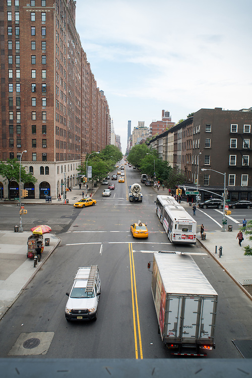 Road scene in New York City, New York, USA