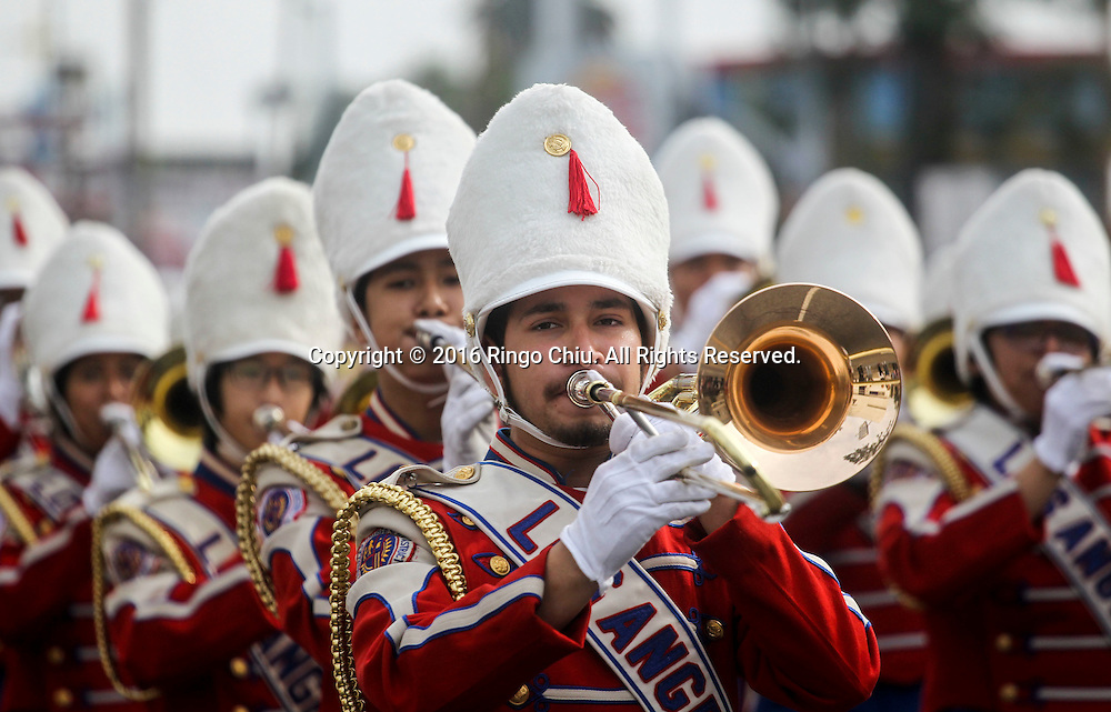 The Los Angeles Unified School District All City Honor Marching Band plays during during the Martin Luther King Jr. parade in Los Angeles on Monday Jan. 18, 2016. The 31st annual Kingdom Day Parade honoring Martin Luther King Jr. was themed &quot;Our Work Is Not Yet Done&quot;(Photo by Ringo Chiu/PHOTOFORMULA.com)<br /> <br /> Usage Notes: This content is intended for editorial use only. For other uses, additional clearances may be required.