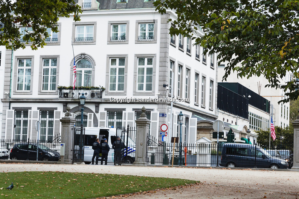 The American Embassy is being protected by Belgium policemen. The stars and stripes is half mast because of the killed US embassador last week in Lybia, due to the violence concerning the anti Islam movie on internet. Belgium 17 September 2012