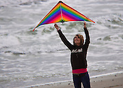 Girl with a Kite at Atlantic Beach