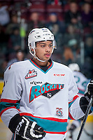 KELOWNA, CANADA - JANUARY 30: Devante Stephens #21 of Kelowna Rockets stands on the ice against the Victoria Royals on January 30, 2016 at Prospera Place in Kelowna, British Columbia, Canada.  (Photo by Marissa Baecker/Shoot the Breeze)  *** Local Caption *** Devante Stephens;