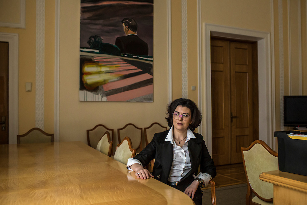 KIEV, UKRAINE - MARCH 4, 2016: Oksana Syroyid, deputy speaker of the Ukrainian parliament, poses for a portrait in her office in Kiev, Ukraine. Syroyid is one of parliament's main opponents of the constitutional reforms called for in the Minsk agreement intended to resolve fighting in eastern Ukraine. CREDIT: Brendan Hoffman for The New York Times