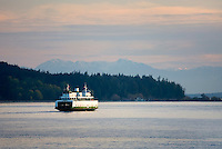Ferry boat sailing through the San Juans Islands Washington USA