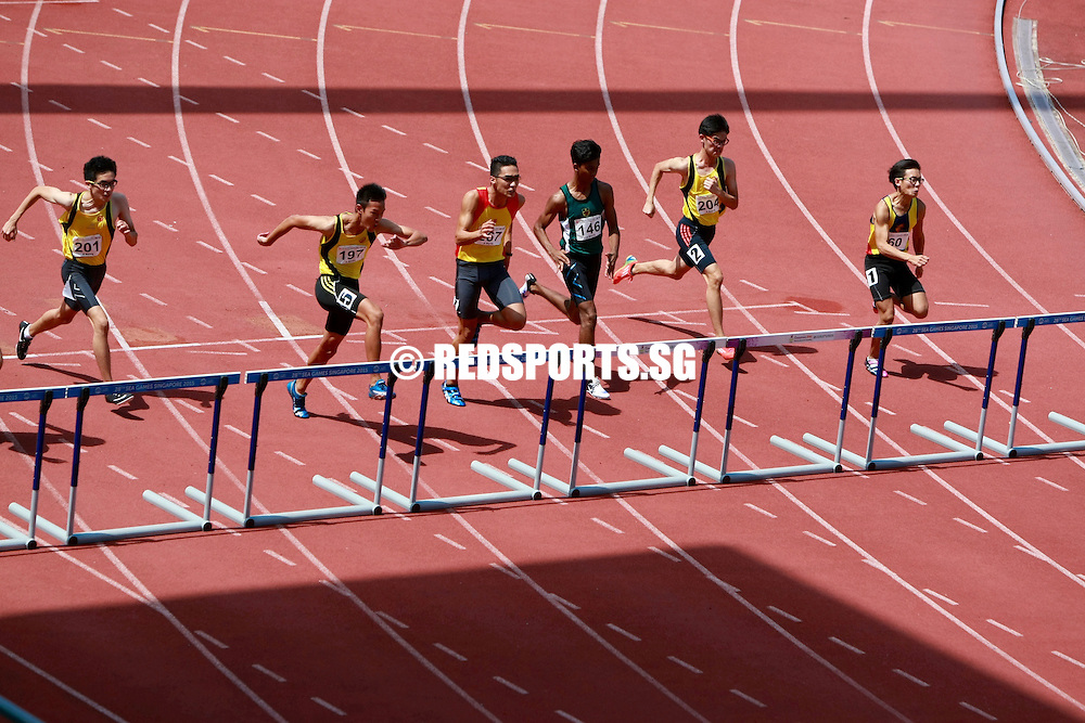 Bishan Stadium, Tuesday, April 19, 2016 — Jared Chang of Victoria Junior College (VJC) clinched the A Division Boys' 110 metres hurdles gold at the 57th National School Track and Field Championships by the narrowest of margins, clocking 14.69 seconds in the final.