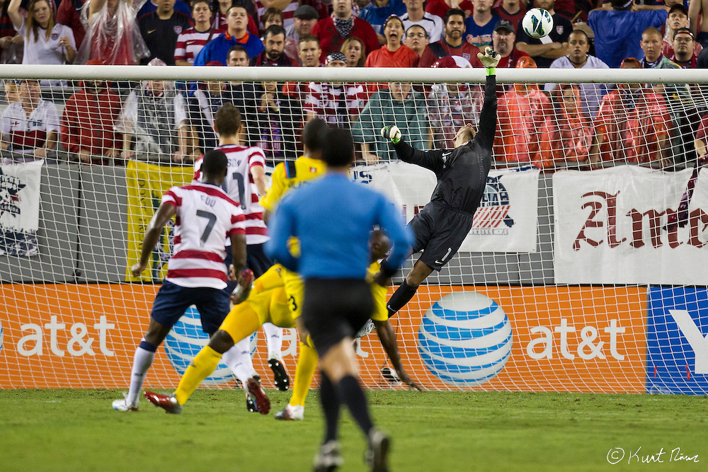 USA Men's National Team goalkeeper TIM HOWARD (1) blocks a goal attempt during the Antigua & Barbuda vs USA Men's National Team  semifinal round of 2014 FIFA World Cup qualifier at Raymond James Stadium in Tampa, Fl. .