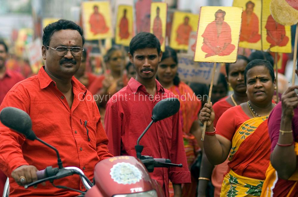 Chennai. Pilgrims on the road to Melmaruvathur Temple. The temple is south of Chennai.