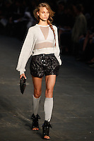 Anna Selezneva walks the runway wearing Alexander Wang Spring 2010 collection during Mercedes-Benz Fashion Week in New York, NY on September 11, 2009