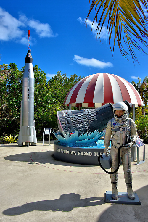 Splashdown Exhibit at Cruise Center in Grand Turk, Turks and Caicos Islands <br /> Next to the Cruise Center is this display of an astronaut wearing a space suit, a model of a Mercury-Atlas 6 rocket and a red and white parachute as it guides a space capsule into the sea from its final descent of 21,000 feet. Splashdown Grand Turk celebrates John Glenn&rsquo;s 1962 historical three orbits around the earth in Friendship 7. After traveling 65,763 nautical miles in almost five hours, he entered the Atlantic near Grand Turk. This 3,500 foot exhibit, which opened in 2011, tells the story of Project Mercury, the Mercury 7 astronauts and highlights of NASA&rsquo;s accomplishments.