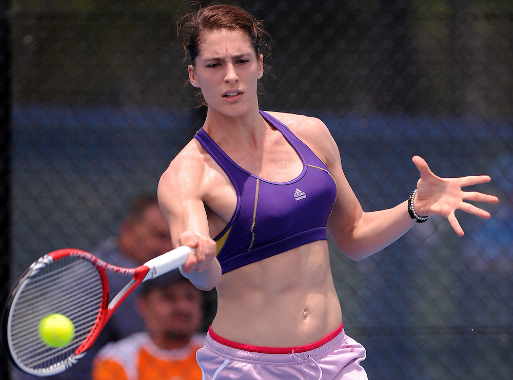 Brisbane, Australia, December 30: Andrea Petkovic of Germany plays a forehand shot during a training session on Show Court 5 at Pat Rafter Arena ahead of the 2012 Brisbane International Tennis Tournament in Brisbane, Australia on Friday December 30th, 2011. (Photo: Matt Roberts/Photo News)