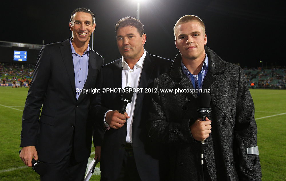 Sky TV commentator Ian Jones (L) with Craig Dowd and injured Blues plyer Gareth Anscombe during the Super Rugby game between The Blues and The Chiefs, North Harbour Stadium, Auckland, New Zealand, Saturday June 2nd 2012. Photo: Simon Watts / photosport.co.nz