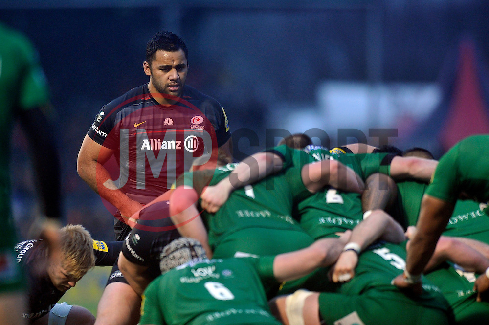 Billy Vunipola of Saracens looks on at a scrum - Photo mandatory by-line: Patrick Khachfe/JMP - Mobile: 07966 386802 03/01/2015 - SPORT - RUGBY UNION - London - Allianz Park - Saracens v London Irish - Aviva Premiership