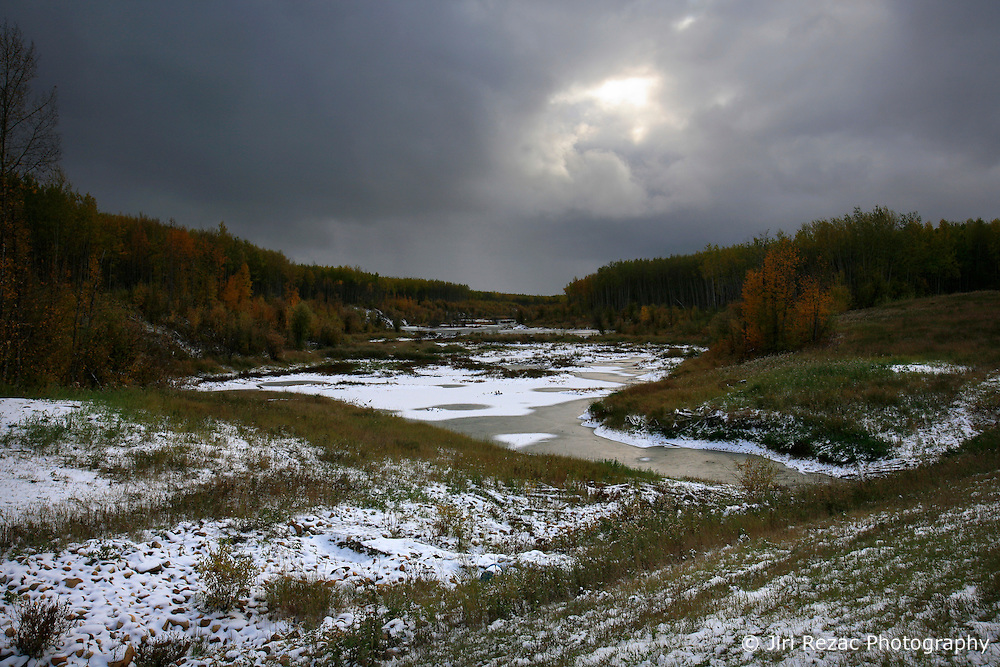 CANADA ALBERTA PEACE RIVER 9OCT09 - A small creek is frozen over in Boreal forest east of Peace River in northern Alberta, Canada...Significant deposits of Bitumen, also known as tarsands have been found in the area around Peace River and Slave Lake, thus threatening the continued existence of flora and fauna of the Boreal through oil and gas developments...The Canadian boreal region represents a tract of land over 1,000 kilometres wide separating the tundra in the north and temperate rain forest and deciduous woodlands that predominate in the most southerly and westerly parts of Canada. ..The boreal region contains about 14% of Canada's population. With its sheer vastness and integrity, the boreal makes an important contribution to the rural and aboriginal economies of Canada, primarily through resource industries, recreation, hunting, fishing and eco-tourism...Photo by Jiri Rezac / GREENPEACE