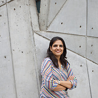Contemporary British-Asian artist Bharti Kher outside her husband Subodh Gupta's recently completed studio. ..Photo: Tom Pietrasik.Gurgaon, Haryana. India. .July 23rd 2009