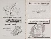 Irish Rugby Football Union, Ireland v Enland, Five Nations, Landsdowne Road, Dublin, Ireland, Saturday 12th February, 1949,.12.2.1949, 2.12.1949,..Referee- Mr R A Beattie, Scottich Rugby Union,..Score- Ireland 14 - 5 England,..Irish Team, ..G Norton, Wearing number 15 Irish jersey, Full back, Bective Rangers Rugby Football Club, Dublin, Ireland,  ..M Lane,  Wearing number 14 Irish jersey, Right wing, University college Cork Football Club, Cork, Ireland,  ..W D McKee, Wearing number 13 Irish jersey, Right centre, N.I.F.C, Rugby Football Club, Belfast, Northern Ireland, ..T J Gavin, Wearing number 12 Irish jersey, Left Centre, London Irish Rugby Football Club, Surrey, England, ..B O'Hanlon, Wearing number 11 Irish jersey, Left wing, Dolphin Rugby Football Club, Cork, Ireland, ..J W Kyle, Wearing number 10 Irish jersey, Stand Off, Queens University Rugby Football Club, Belfast, Northern Ireland,..E Strathdee, Wearing number 9 Irish jersey, Scrum, Queens University Rugby Football Club, Belfast, Northern Ireland,..A A McConnell, Wearing number 1 Irish jersey, Forward, Collegians Rugby Football Club, Belfast, Northern Ireland, ..K Mullen, Wearing number 7 Irish Jersey, Captain of the Irish team, Forward, Old Belvedere Rugby Football Club, Dublin, Ireland, ..T Clifford, Wearing number 3 Irish Jersey, Forward, Young Munster Rugby Football Club, Limerick, Ireland, ..C Callan, Wearing number 4 Irish jersey, Forward, Landsdowne Rugby Football Club, Dublin, Ireland, ..J E Nelson, Wearing number 5 Irish jersey, Forward, Malone Rugby Football Club, Belfast, Northern Ireland,..J W McKay, Wearing number 6 Irish jersey, Forward,  Queens University Rugby Football Club, Belfast, Northern Ireland,..D J O'Brien, Wearing number 7 Irish jersey, Forward, London Irish Rugby Football Club, Surrey, England, and, Old Belvedere Rugby Football Club, Dublin, Ireland, ..J McCarthy, Wearing number 8 Irish jersey, Forward, Dolphin Rugby Football Club, Cork, Ireland, ..English Team, ..W B Holmes, Wea