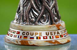 General view of the Europa League trophy before the UEFA Europa League Final in Stockholm