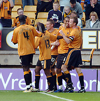 Photo: Kevin Poolman.<br />Wolverhampton Wanderers v Colchester United. Coca Cola Championship. 14/10/2006. Wolves striker Jay Bothroyd (2nd from the right) celebrates his goal with other Wolves players.